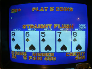 Bob's first Straight Flush of the trip -- dealt on a White Hot Aces machine